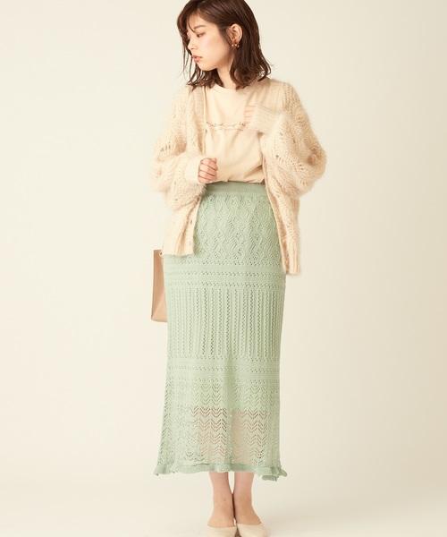 [natural couture] 透かし柄ややフレアスカート