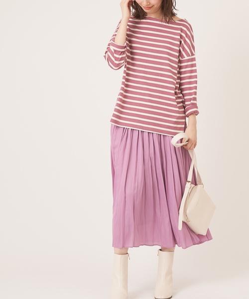[natural couture] サテン上品プリーツスカート