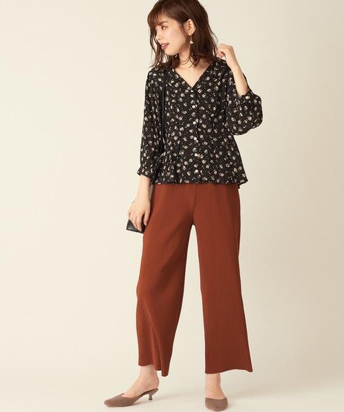 [natural couture] ドット花柄開襟ブラウス