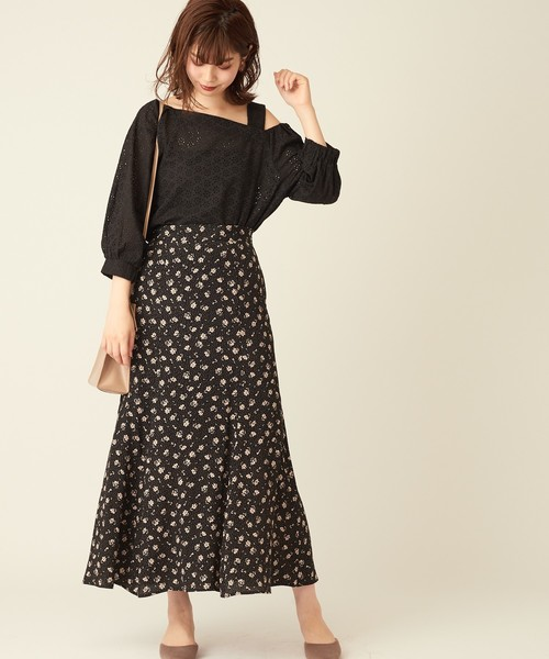 [natural couture] ドット花柄マーメイドスカート