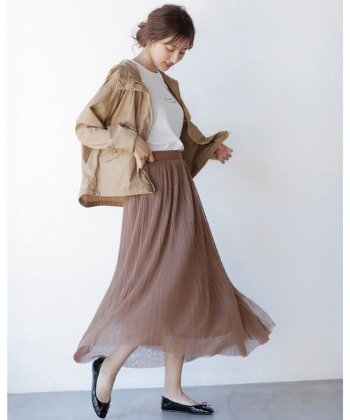 [INGNI] チュールプリーツロング/スカート