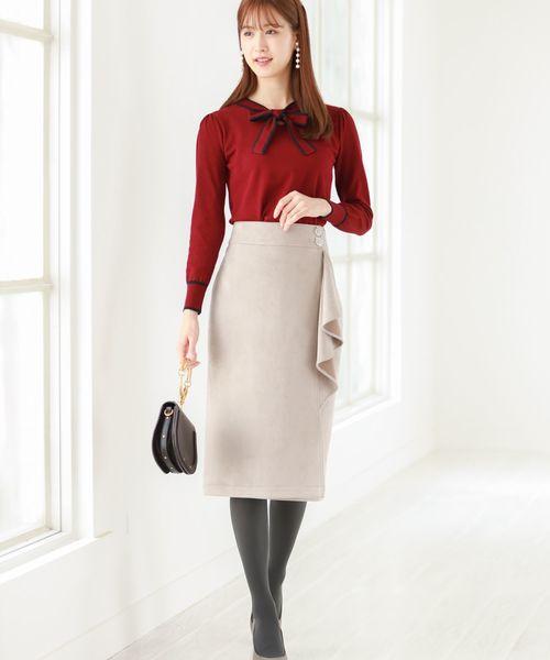 [tocco closet] フラワービジュー付きフリルラップタイトスカート