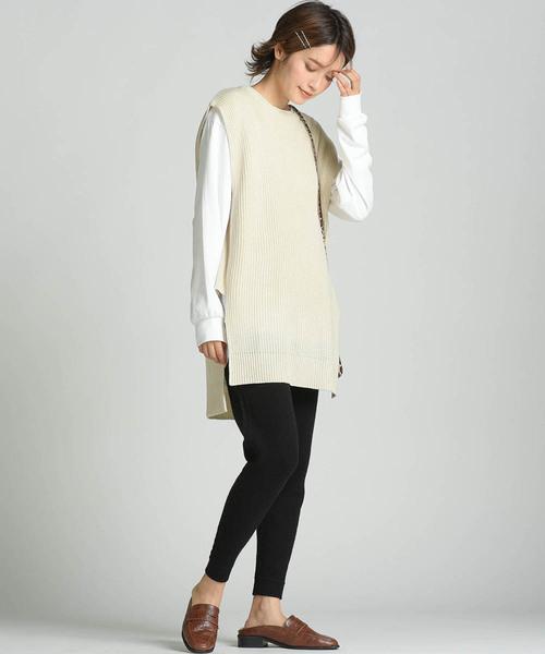 [LIPSTAR] 【セット商品】スリットチュニックニットベスト×ロングTシャツ