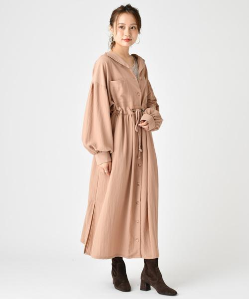 [mystic] EC 長袖サファリワンピース