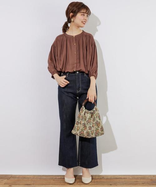 [natural couture] とろみサテンギャザーブラウス