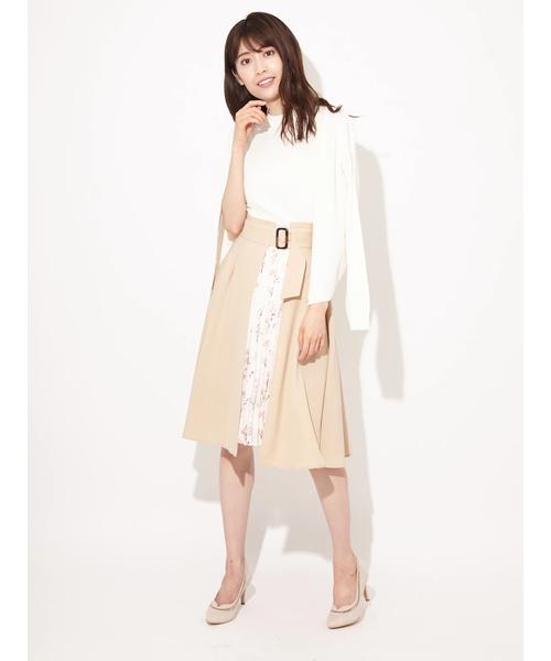 [Ailand] 3WAYフラワー×無地ブロッキングトレンチプリーツスカート