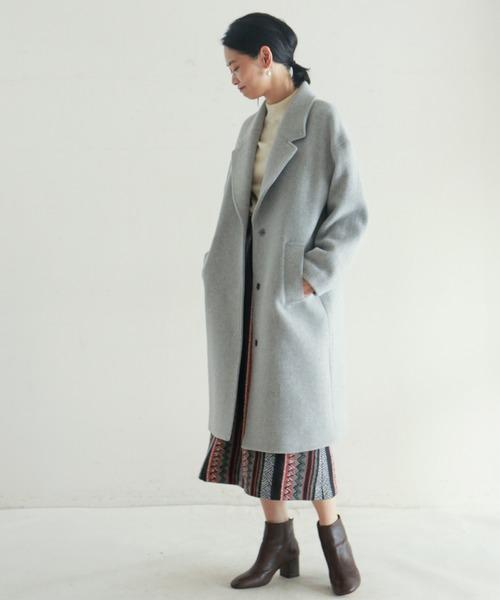 柄スカートのきれいめ冬コーデ