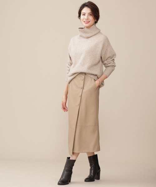 5[nano・universe] カバーボタンフェイクレザースカート