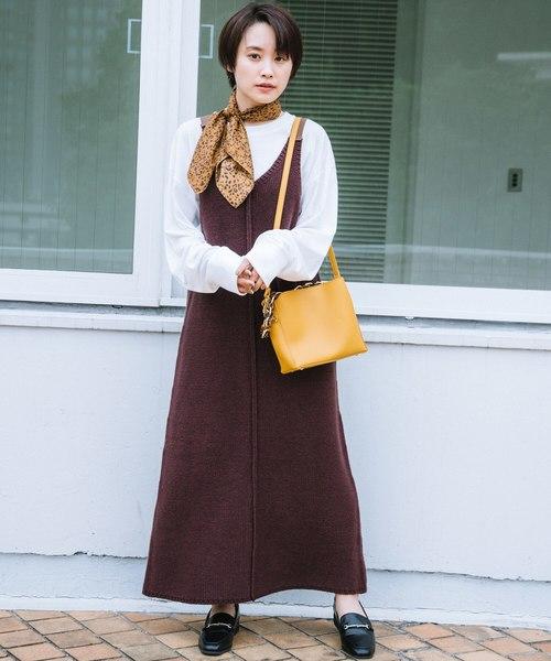 [haco!] 【高橋愛さんコラボ】ニットジャンパースカートとロングTシャツセット by LOVE&PEACE PROJECT