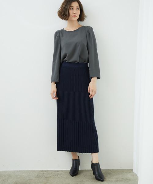 [ROPE' PICNIC] 【セットアップ対応】ストライプニットスカート