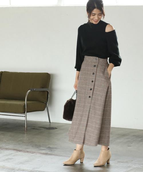 [ViS] 【WEB限定】チェック柄ボタン付きスリットロングスカート