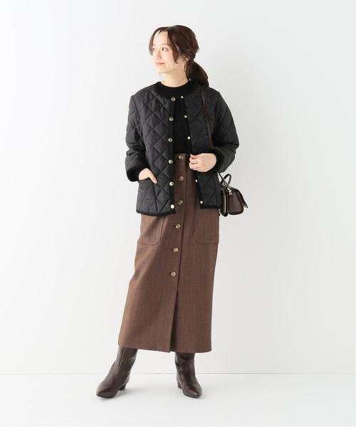 キルトジャケットを使った今日の服装【スカート】