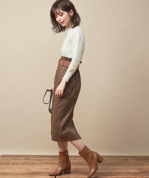 [natural couture] 太ベルト付きナロースカート
