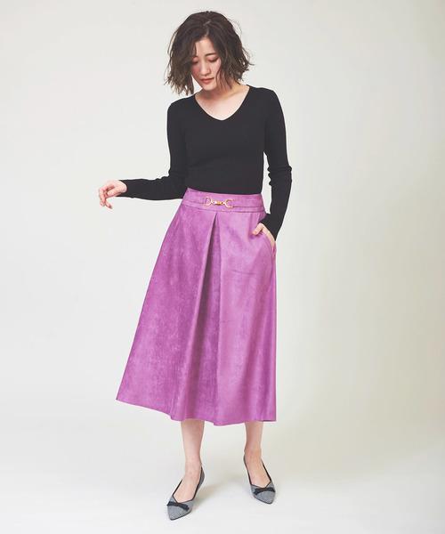 12[The Virgnia] カラースエードフレアスカート