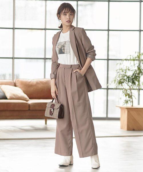 3[kobelettuce] ワイドパンツ/キュロット選べる2typeスーツパンツ