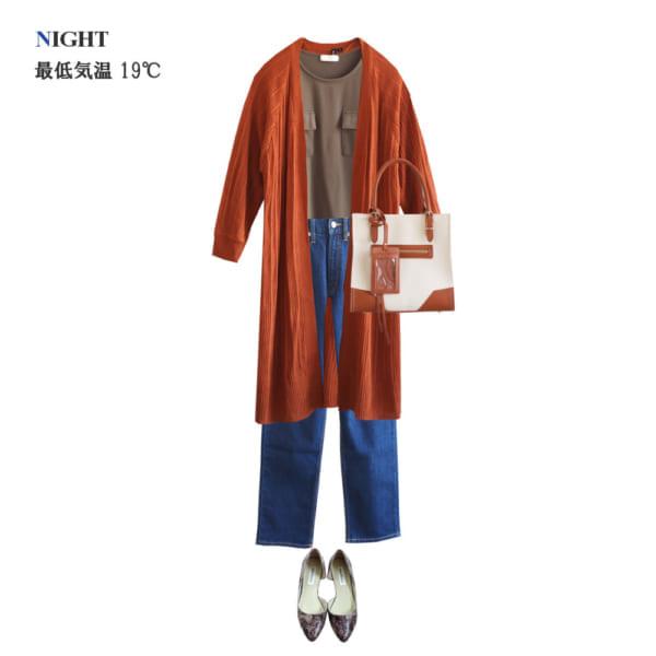 <夜>ロングカーディガンを羽織ってスタイルアップ