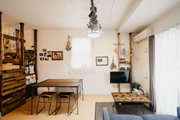 古材を使ったDIY家具で統一感を