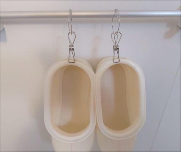 ワッツのピンチでお風呂用ブーツを収納