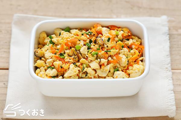 お弁当にも人気のレシピに!しいたけと豆腐炒め