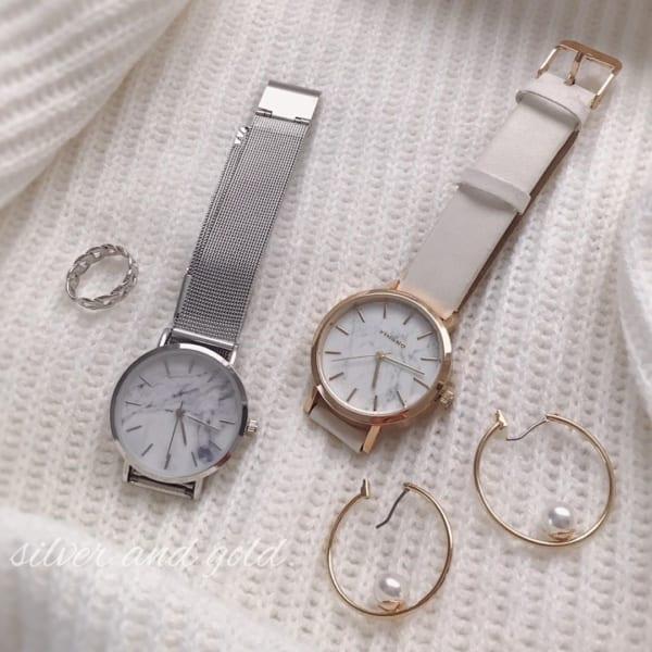 【ダイソー】大理石風レディース腕時計2