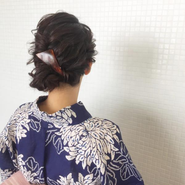 和装・浴衣向け④編み込み&サイド寄せ