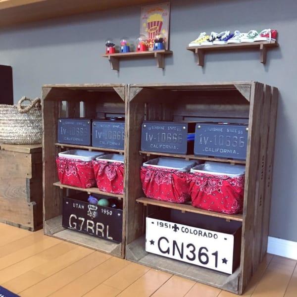 木箱をアレンジした手作り収納棚DIY