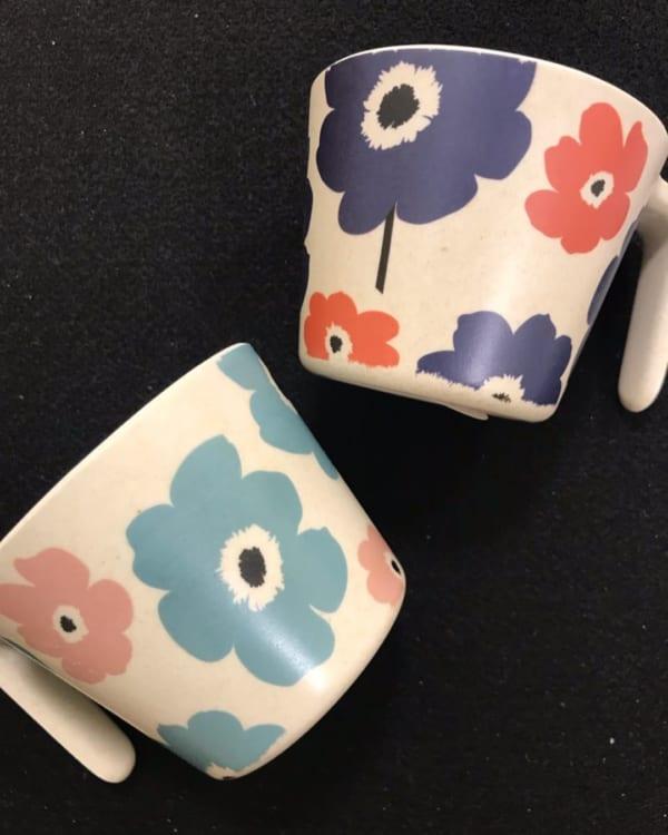 【セリア】フラワー柄バングーマグカップ