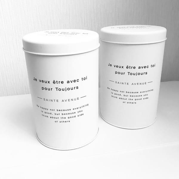 モダンなホワイトの丸缶(ダイソー)