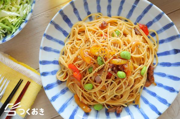 彩り野菜の和風ポン酢パスタ