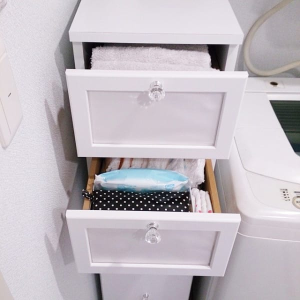 洗濯機横のドロワーで簡単に整理整頓するアイデア