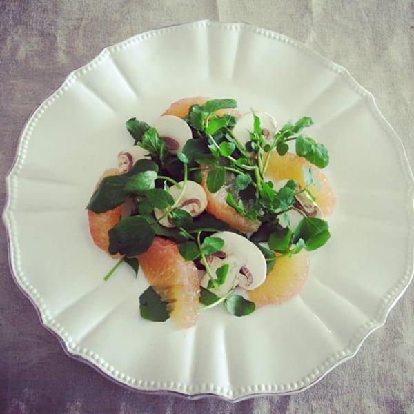 ピンクグレープフルーツとクレソンの簡単サラダ
