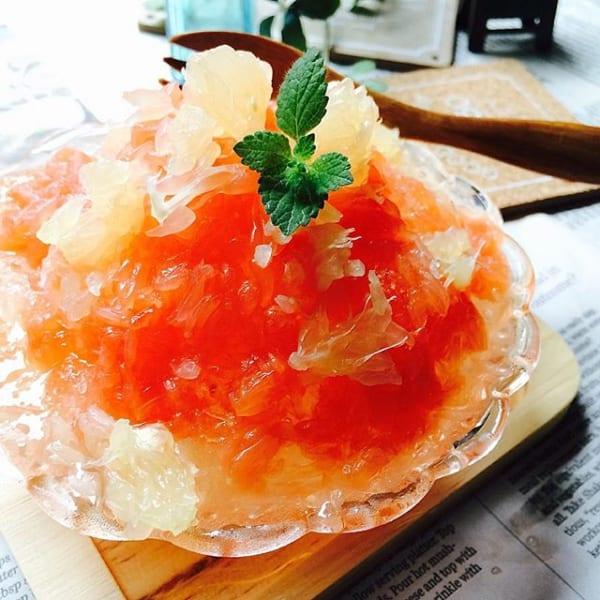 簡単レシピに!自家製グレープフルーツかき氷
