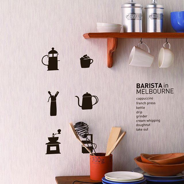 英字と文字を組み合わせてカフェ風キッチン