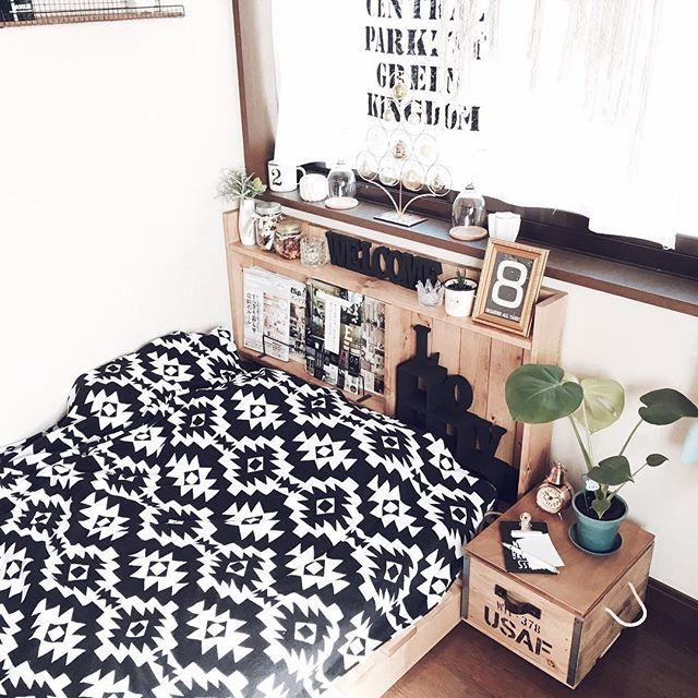 一人暮らしにも似合うおしゃれなカフェ風寝室