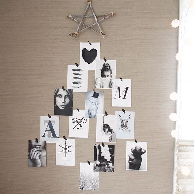 ポストカードを使ってクリスマスツリー