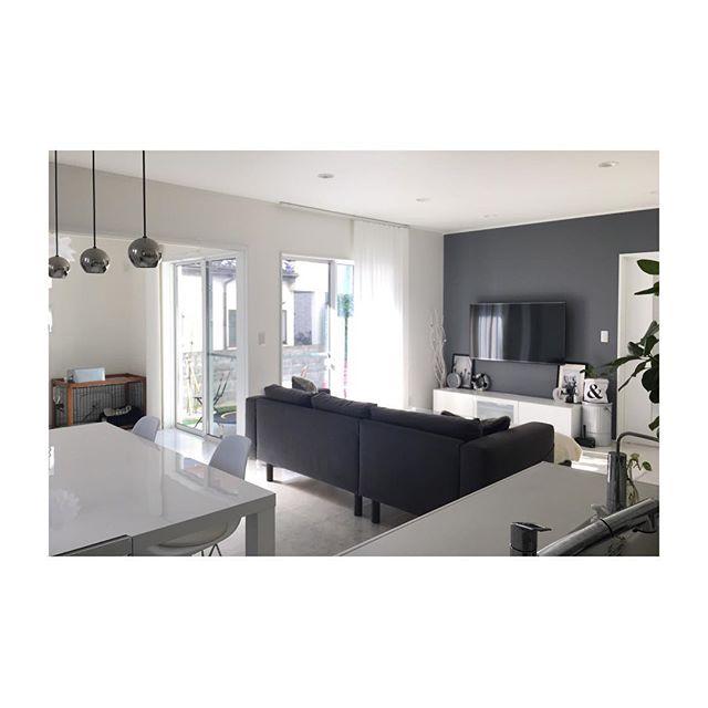 白黒家具の18畳LDKレイアウト