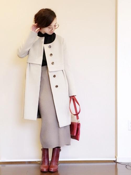グレーニットスカート×ノーカラーコート