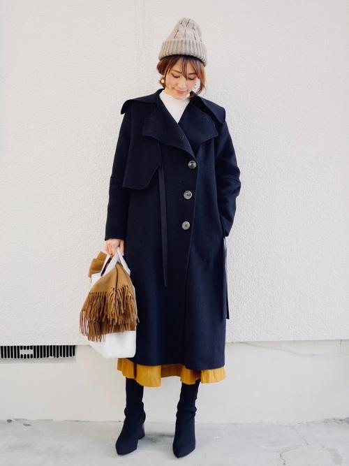 レディースコート×プリーツスカート