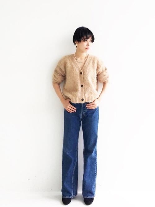 [haco!] <吉木千沙都(ちぃぽぽ)さんコラボ>ラブ&ピースプロジェクト ゆるトップスとしても楽しめるVネックシャギーカーディガン