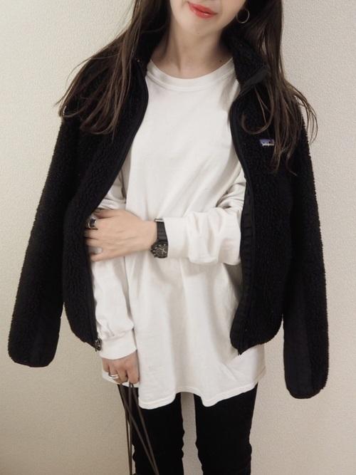 長袖Tシャツ×フリースジャケット