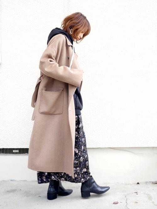 名古屋 1月 服装 ワンピースコーデ2