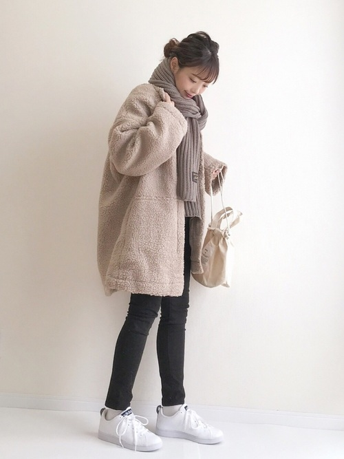 [Auntie Rosa] 【Holiday】ノーカラーボアコート◆WEB限定◆