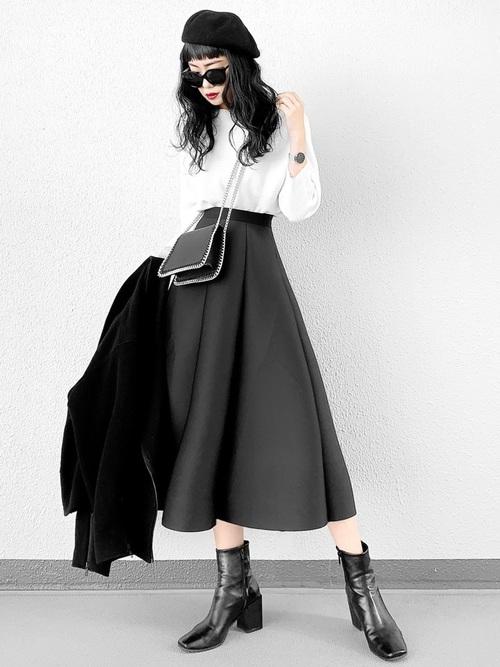 [DONOBAN] ダイバー素材フレアスカート