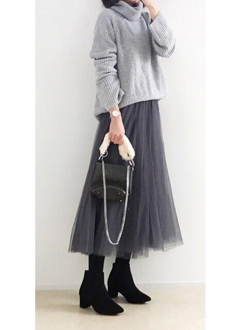 最高気温12度 服装 スカートコーデ3
