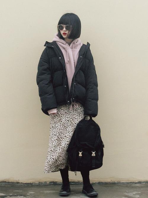 【1月の大阪向けの服装】ダウン×ロングスカート