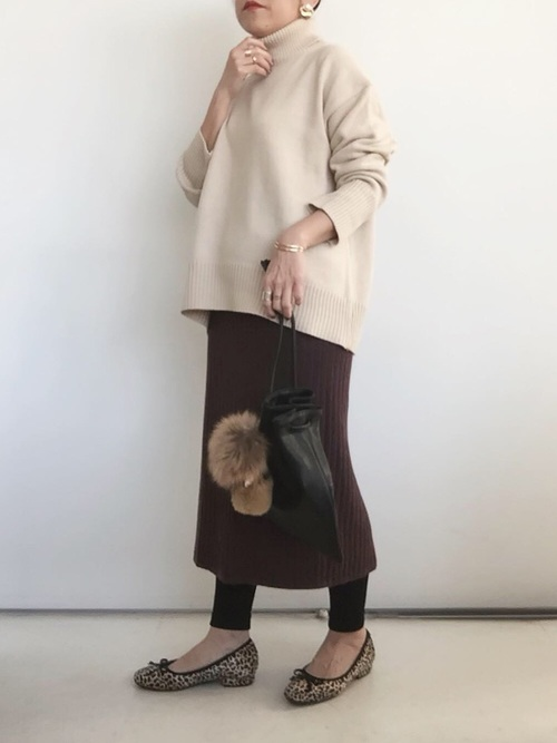 [ANDJ] ハイウエストリブニットひざ丈スリットスカート