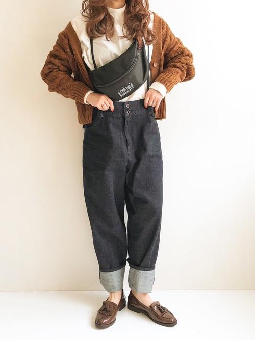 【1月の大阪向けの服装】茶色カーディガン×デニム