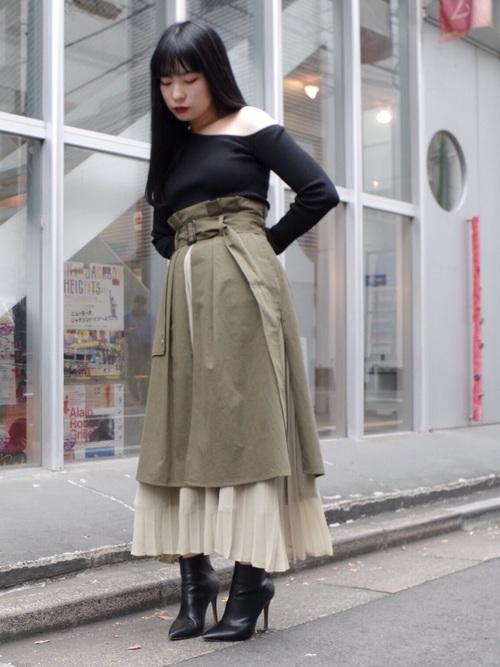 [ECLIN] トレンチプリーツスカート