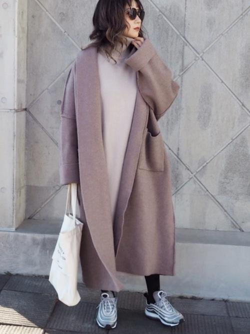 名古屋 2月 服装 ワンピースコーデ
