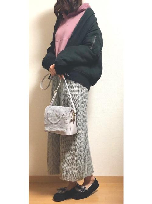 MA-1×ケーブル編みニットスカート